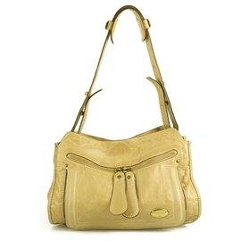 Chloé-CHLOE Bay Signature Zipper Pulls Beige Distressed Leather Shoulder Bag Handbag-Beige