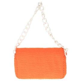 Chanel-Chanel Classique en Coton bouclettes dévoré orange et garniture en plastique blanc-Orange