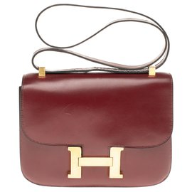 Hermès-Hermes Constance 23 burgundy Box leather, gold-plated metal trim in very good condition-Dark red