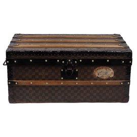Louis Vuitton-Superbe Malle Cabine Louis Vuitton à toile damier pochoir, Circa 1900-Marron