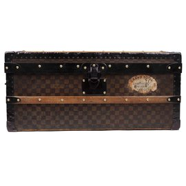 Louis Vuitton-Superb Louis Vuitton Cabin trunk in checkered canvas stencil, CIRCA 1900-Brown