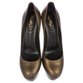 Yves Saint Laurent-Tribute Rive Gauche Pumps-Black,Golden
