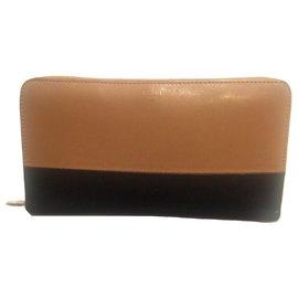 Céline-CELINE zipped wallet-Black,Caramel