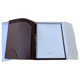 Rolex-DOCUMENT HOLDER & WRITING NOTEBOOK & ROLEX PEN-Brown