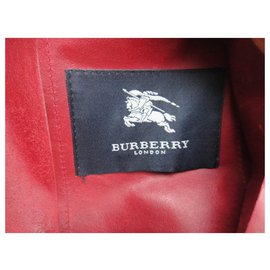 Burberry-burberry t leather jacket 40-Red