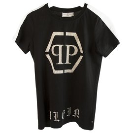 Philipp Plein-Philipp Plein Junior Black Glitter Top Cotton T - Shirt for boys or girls sz 14-Black