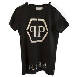 Philipp Plein-Philipp Plein Junior T-shirt en coton noir à paillettes pour garçon ou fille sz 14-Noir