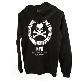 """Philipp Plein-Philipp Plein Junior Black Skulls """"I love new york"""" glitter hoodie sweater 14 years-Black,White"""