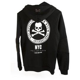 "Philipp Plein-Philipp Plein Junior Black Skulls pull à capuche pailleté ""I love new york"" 14 années-Noir,Blanc"