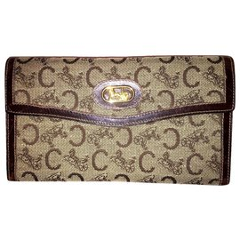 Céline-CELINE vintage wallet Sulky flap-Brown,Beige