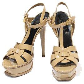 Yves Saint Laurent-Tribute YSL Sandals-Beige