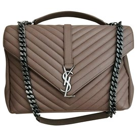 Saint Laurent-Sac College Monogram Saint Laurent-Taupe,Marron clair
