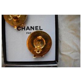 Chanel-Chanel Vintage Gold Clip chapeau de paille aux boucles d'oreilles-Doré