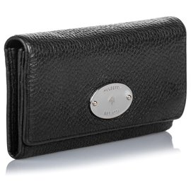 Mulberry-Mulberry Black Leather Long Wallet-Black,Silvery