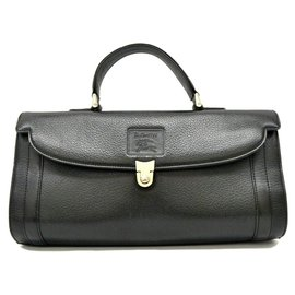 Burberry-Burberry Cartable en cuir-Noir