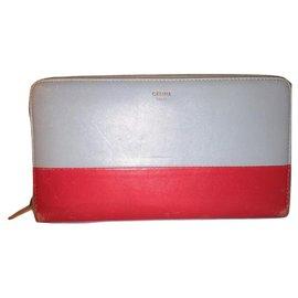 Céline-CELINE zipped wallet-Red,Light blue