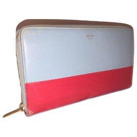 Céline-CELINE portefeuille zippé-Rouge,Bleu clair