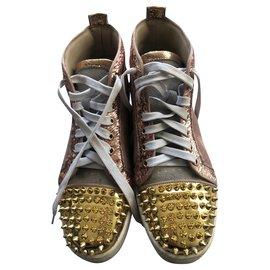 Christian Louboutin-Lou Spikes-Pink,Golden