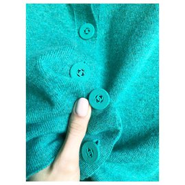 Chanel-Cashmere cardigan-Turquoise