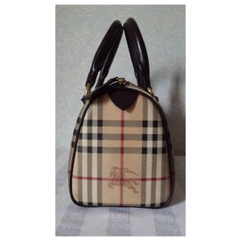 Burberry-Monogram canvas and leather handbag-Beige