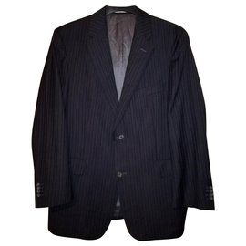 Burberry-London Classic Gary Wool 100 Black Striped Suit Jacket Blazer-Black