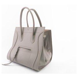 Céline-Sac à main CELINE Luggage Phantom en cuir de veau couleur taupe.-Taupe