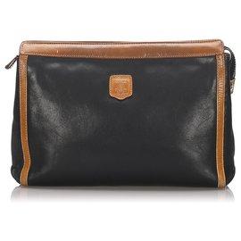 Céline-Celine Black Macadam Leather Clutch Bag-Black