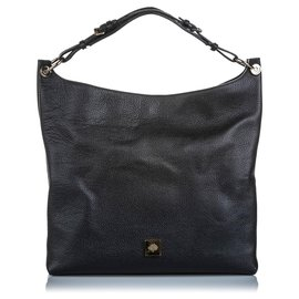 Mulberry-Mulberry Black Leather Freya Shoulder Bag-Black