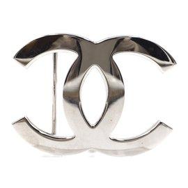 Chanel-Chanel CC Silver Buckle Reversible Crackled Black White Leather Belt-Black