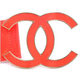 Chanel-Chanel Neon Pink XL CC Logo Silver Buckle Leather Belt Size 75/30-Pink