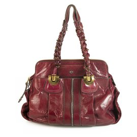 Chloé-Chloe Heloise Magenta Leather Satchel Shoulder Bag with braided shoulder straps-Dark red