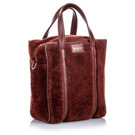 Balenciaga-Balenciaga Brown Shearling Bazar Shopper XS-Brown