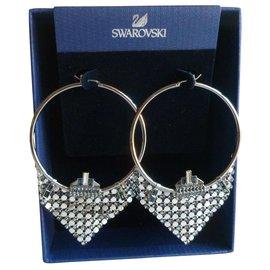 Swarovski-Boucles d'oreilles cercle ornées de cristaux-Métallisé