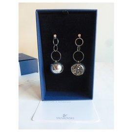 Swarovski-Boucles d'oreilles cercle cristal et métal-Argenté