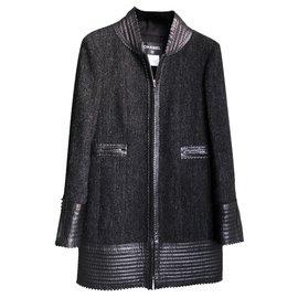 Chanel-leather trimmed coat-Black