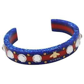 Gucci-Bracelet Gucci en plastique rouge et bleu, avec une abeille et des strass-Multicolore