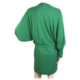 Balmain-Balmain - Robe courte verte à manches longues à décolleté plongeant et décolleté en V 36-Vert