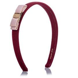 Salvatore Ferragamo-Ferragamo Red Vara Bow Grosgrain Headband-Pink,Red
