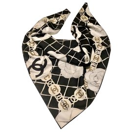 Chanel-Black CHANEL scarf with camellias-White