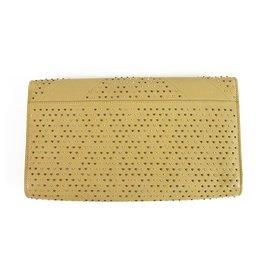 Yves Saint Laurent-YSL Yves Saint Laurent Y Studded Beige calf leather Leather Clutch flap bag-Beige