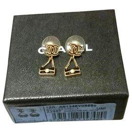 Chanel-Boucles d'oreilles sac à main vintage Chanel-Noir,Doré