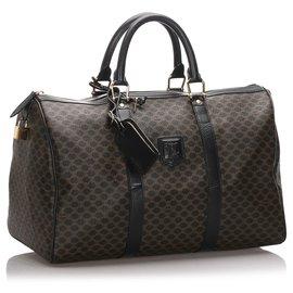 Céline-Celine Brown Macadam Travel Bag-Brown,Black