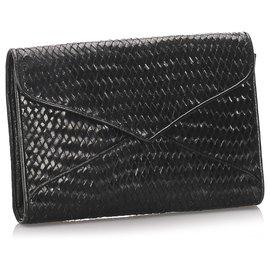 Yves Saint Laurent-YSL Black Woeven Leather Clutch Bag-Black