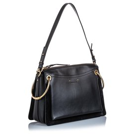 Chloé-Chloe Black Medium Leather Roy Satchel-Black