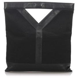 Yves Saint Laurent-Sac à main en toile noire YSL-Noir