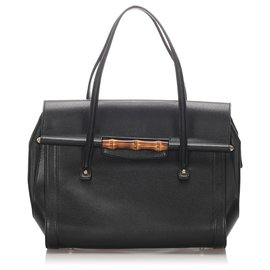 Gucci-Gucci Black Bamboo Leather Bullet Tote Bag-Black