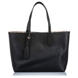 Burberry-Burberry Black Medium Haymarket Reversible Tote-Black,Multiple colors