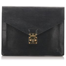Louis Vuitton-Louis Vuitton Black Epi Porte Documents Sénateur-Noir