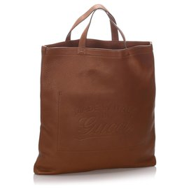 Gucci-Gucci Brown Leather Tote Bag-Brown