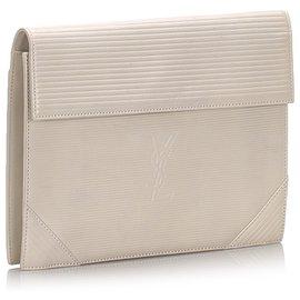 Yves Saint Laurent-YSL White Leather Clutch Bag-White